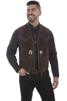 Scully Leather Handlaced Concho Vest in Espresso Boar Suede